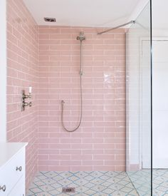 These x decorative wall tiles combine a hand-crafted look with a sheen that evokes traditional glazed ceramics. They are available in six different colours, which can be combined to create interesting patterns and contrasts. tiles per square. Pink Bathroom Tiles, Pink Tiles, Bathroom Colors, Colorful Bathroom, Pink Bathrooms, Small Vintage Bathroom, Funky Bathroom, Tuscan Bathroom, Ceramic Tile Bathrooms