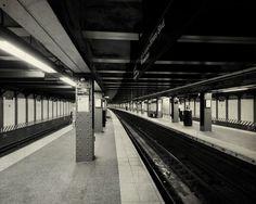 New York subway photo, NYC subway station tunnel dark empty station, Manhattan black and white fine art home decor