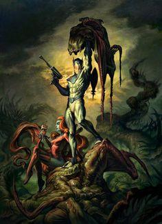 Various Conceptual Illustrations by Fabian Schlaga - Cruzine Dark Fantasy, Fantasy Art, Comic Character, Character Poses, Sci Fi Art, Comic Artist, Dark Art, Amazing Art, Awesome