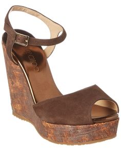 Jimmy Choo Perla 120 Suede Wedge Sandal