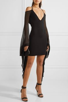Balmain | Open-back ruffled stretch-knit mini dress | NET-A-PORTER.COM