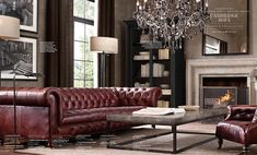 Brown Leather Chesterfield Sofa In Living Room Chesterfield Living Room, Living Room Sofa, Living Room Interior, Home Living Room, Living Room Designs, Living Room Furniture, Living Room Decor, Chesterfield Library, Chesterfield Sofas