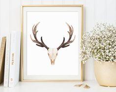 Deer Skull Printable Deer Skull Watercolor by TheSunshineGarden