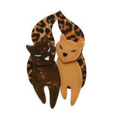 """Erstwilder Limited Edition The Lovecats Brooch. """"We should have each other for tea. We should have each other with cream. And we should snuggle all night long. Vintage Costume Jewelry, Vintage Costumes, Wearing All Black, Pastel Yellow, Cute Comics, Stained Glass Patterns, Resin Jewelry, Rainbow Colors, The Incredibles"""