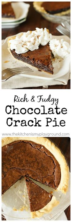 Chocolate Crack Pie ~ amazingly-rich-and-fudgy, addictively delicious, gooey brownie ... in a crust! www.thekitchenismyplayground.com