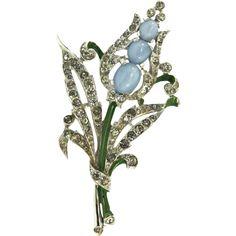 1940 Philippe TRIFARI Moonstone Rhinestone Enamel Floral Spray Pin Fur Clip
