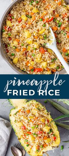 Learn how to prepare a sweet and savory meal with this Thai inspired Pineapple Fried Rice recipe served in a pineapple boat. You can eat it by itself or as a side dish with glazed grilled chicken or other tasty entrees.  Jasmine Rice Recipes, Cooking Jasmine Rice, Easy Rice Recipes, Side Dish Recipes, Asian Recipes, Fried Rice Recipes, Easy Fried Rice, Healthy Fried Rice, Vegetarian Fried Rice
