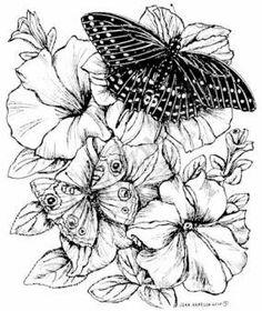 Northwoods Rubber Stamp Petunias w/ 2 Butterflies franticstamper.com or northwoodsrubberstamps.com