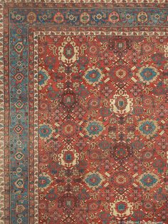 """BAKSHAISH, Northwest Persian, 12ft 2in x 19ft 11in, 3rd Quarter, 19th Century. We are extremely pleased that the Chappaqua cache includes a series of wonderfully preserved oversize and palace-size antique rugs of extraordinary artistry. This magnificent 12x20 antique carpet showcases a range of radiant blues dyes that other regions found extremely difficult to duplicate. These mid-tone blues are so unforgettable that they have earned the title """"Bakshaish Blue."""""""