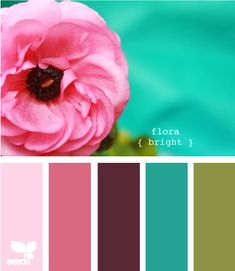 "flora bright - I can't decide if I love this or not.  The 2 pinks and the turquoise are pretty close to my ""teen scheme"" but I really don't like that pea green and the purple-y eggplant in the center...."
