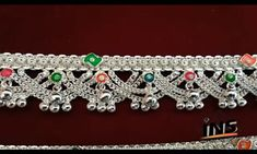 Silver Jewellery Indian, Gold Jewellery Design, Silver Jewelry, Silver Anklets Designs, Anklet Designs, Ankle Jewelry, Ankle Bracelets, Crystal Beads, Gold Beads