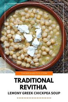 This rustic Greek chickpea soup is easy to make in less than 30 minutes and jazzes up otherwise boring chickpeas. Revithia is a traditional Greek soup, with flavors of garlic and lemon. | Soup Recipe | Cooking with Chickpeas | Vegan Recipe | One Pot Meal | Chickpea Recipe | Vegetarian Recipe | Vegan Recipes One Pot, Chickpea Recipes Vegetarian, Chickpea Soup, Bean Soup Recipes, Cooking Recipes, Lemon Soup, Cooking With Olive Oil, Canned Chickpeas, Bowl Of Soup