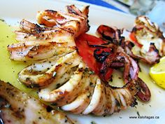 Grilled calamari (Greek style)