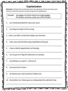 Capitalization Worksheet 10 sentences with capitalization errors that students must correct with correct capitalization. 10 Sentences, 2nd Grade Ela, Complete Sentences, Punctuation, Grammar, Worksheets, Students, Language, Afrikaans