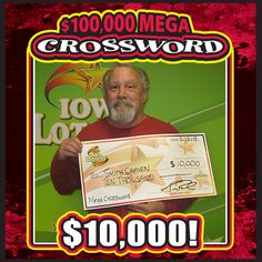 "Congratulations to Smith ""Sam"" Craven of Ottumwa. Sam bought a ""$100,000 Mega Crossword"" at his local BP at 533 N. Jefferson St. and ended up winning the 22nd of 25 prizes of $10,000 available in the game! #WooHoo‪"