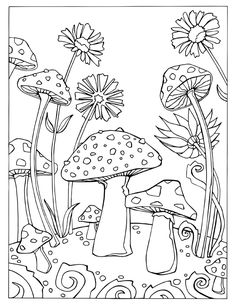 Fortuna Coloring Book Mushroom Page --> If you're in the market for the best adult coloring books and supplies including watercolors, colored pencils, gel pens and drawing markers, please visit http://ColoringToolkit.com. Color... Relax... Chill.