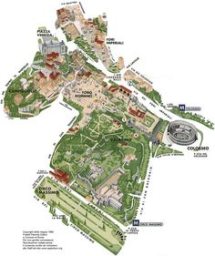 ancient centre of Rome map....including Circus Maximus, Pallintine hill and Roman Forum area