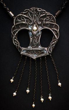 "Necklace "" ""Mjöllnir"" "".polymer clay. Pearls"