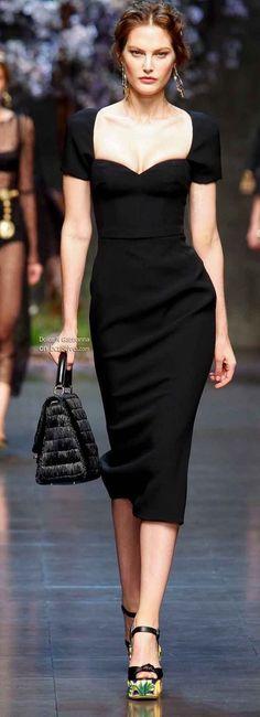 Classic black dress with plunging square neckline + classic black bag