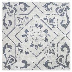 Vintage Patterned Tile Washed White 6 x 6 for floor and wall applications. Bathroom Backsplash Tile, Moroccan Tile Bathroom, Lowes Tile, Kitchen Floor Tile Patterns, Patterned Kitchen Tiles, Woodhaven House, Vintage Tile Floor, Entryway Tile Floor, Craftsman Cottage