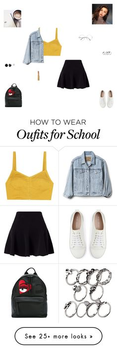 """""""school outfit #3"""" by synclairel on Polyvore featuring Isa Arfen, Miss Selfridge, Too Faced Cosmetics, Mint Velvet, Chiara Ferragni and Gap"""