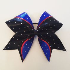 A personal favorite from my Etsy shop https://www.etsy.com/listing/280143574/red-blue-and-black-rhinestone-cheer-bow