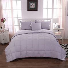 summer lightweight hungarian white goose down comforter cal king sizesolid grey