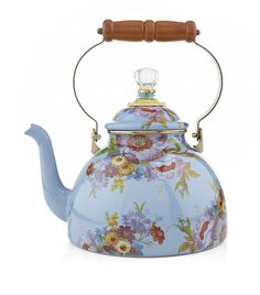 New MacKenzie-Childs Flower Market Enamel 3 Quart Tea Kettle - Blue online shopping - Theeasytopbuy Enamel Cookware, Perfect Cup Of Tea, Milk Cans, Teapots And Cups, Tea Accessories, Kitchen Accessories, Flower Market, Luxury Gifts, Tea Party