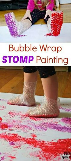 Bubble wrap foot prints