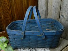 Antique Blue Market Basket Primitive - 2 Handles by allthatsvintage56 on Etsy