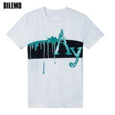 2017 Summer New Fashion Brand Clothing Tshirt Men Trend Print AY Slim Fit Short Sleeve T Shirt Men O-Neck Cotton Casual T-Shirts