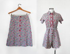 0cc08093281e 1940s Romper and MATCHING SKIRT Two Piece Set   Novelty Print Playsuit   XS  S
