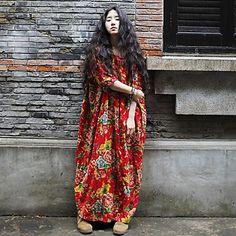 Women's  Vintage Flower Printing Cotton Loose Dress – SEK Kr. 500