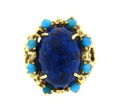 1970s 14k Gold Lapis Turquoise Large Ring Featured in our upcoming auction on June 14, 2016!
