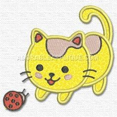 AdorableApplique.com - Kitten with Ladybug