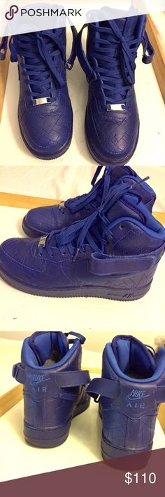 """Limited Edition Air Force 1s (City Pack) NIKE AIR FORCE 1s HIGH - Limited Edition  City Pack """"PARIS"""" Women's size 8 Men's size 6 Color: Royal Blue Comes with strap, duster bag and box  ONLY WORN LESS THAN 10 times Slight creased toe box  NO TRADES!!! LOW BALLERS DO NOT COMMENT  Regular price $200  Market price $250+ Nike Shoes Sneakers"""