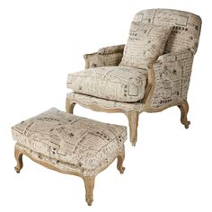 The charming Paris French Script Post Card Chair chair features a sturdy solid oak frame and crisp natural linen upholstery, beautifully decorated with French script postcard motif, packing stamps and vintage newsprint. Sectional Ottoman, Chair And Ottoman, Armchair, Painted Furniture, Furniture Sets, French Script, Paris Wall Art, Grey Oak, Club Chairs