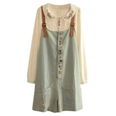 Casual Style Vintage Delicate Button Embellish Denim Overalls (54 BRL) ❤ liked on Polyvore featuring dresses