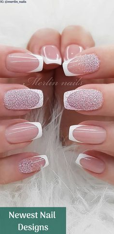 Newest Nail Designs Glitter Made by breathable and comfortable plastic material Only 1 minute to make nail art Picture Credit Classy Nail Designs, New Nail Designs, Beautiful Nail Designs, Acrylic Nail Designs, Best Acrylic Nails, Ombre Nail Designs, Pink Nails, My Nails, Nagel Bling