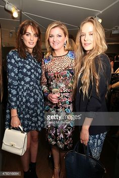 Violet Manners, Niamh Flatley and Hum Flemming arrive at the Private View of 'Firedance', the inaugural art exhibition of artist Michael Flatley at 12 Hay Hill on June 24, 2015 in London, England.