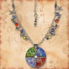 Earth Water Air Fire Charm Glass Necklace