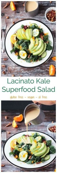 Lacinato Kale Superfood Salad - full of avocados, apples, cucumbers, pecans, and dried cranberries in a creamy oil-free citrus tahini dressing. The perfect stand alone salad or great as a side to any meal or even on holiday menus. Great for detox! #vegan #superfood #salad #glutenfree #avocado #oilfree #tahini #apples via @veggieinspired
