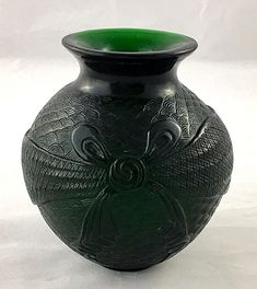Chinese Peking Glass Vase Ovoid Form – Etched Wave, Bow & Ribbon Design – Antiqu