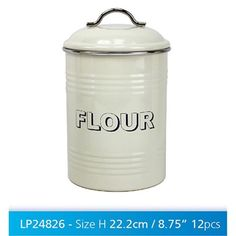 CREAM TRENDY VINTAGE FLOUR TIN BIN /FOR  FOOD STORAGE  lp24826