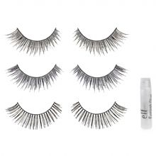 Came across these yesterday due to lack of time for my individuals...ELF lash trio, pricewise you cant beat a buck each, as for glue I prefer Ardell black glue for individuals, less tacky and dries quick. The seam on these is very thin giving it a more softer look once applied compared to other strip lashes and the texture is very soft not stiff.
