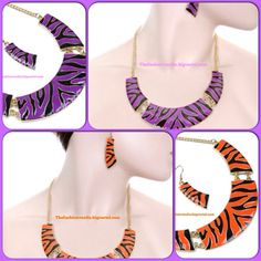 This bold zebra necklace and earring set is truly eye catching! Add it to your collection today for only $12 www.thefashionvaults.bigcartel.com