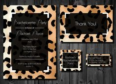 Leopard Print Modern Black & White DIY Printable Bachelorette or Birthday Party Invitation Package by PaperworkEnvy, $27.50  Includes matching: Invitation, Thank You Card, Favor Tags & Return Address Labels