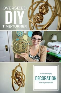 Make an oversized time-turner decoration inspired by the Harry Potter books with embroidery hoops and this craft tutorial! Make an oversized time-turner decoration inspired by the Harry Potter books with embroidery hoops and this craft tutorial! Baby Harry Potter, Deco Noel Harry Potter, Bijoux Harry Potter, Harry Potter Thema, Classe Harry Potter, Harry Potter Nursery, Harry Potter Classroom, Theme Harry Potter, Harry Potter Wedding