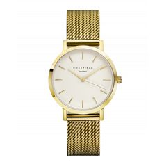 ROSEFIELD Tribeca White Gold Watch w/ gold mesh strap // $108 USD // Free Worldwide Shipping