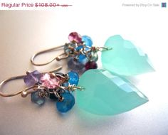 HURRY!! ANNIVERSARY SALE ends 7/15 Seafoam Ice Cluster earrings, Seafoam Earrings, Chalcedony Earrings, Aqua Earrrings, Cluster Earrings, Tourmaline on Etsy, $97.20